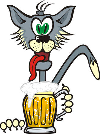cat and golden beer mug Vector
