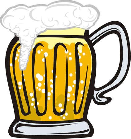een mok van gouden bier met schuim Vector Illustratie