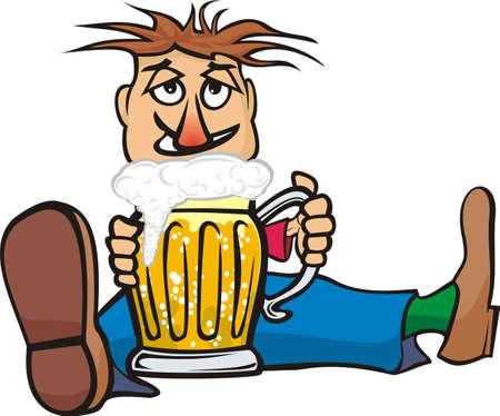beer fest: guy with a mug of beer