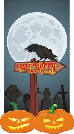 halloween - signpost and raven Stock Vector - 10303752
