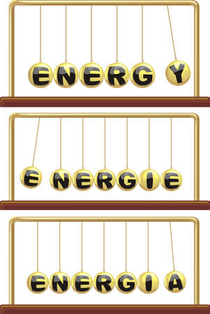 momentum: energy in foreign languages - newton`s cradle