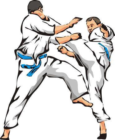 karate fight - unarmed combat Vetores