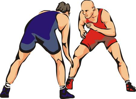 fight wrestling - contact sports Vector