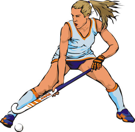 women`s grass hockey Stock Vector - 10400651