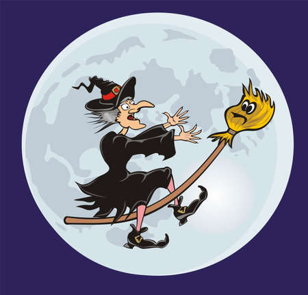 broomstick: witch and her broomstick - fairy tale