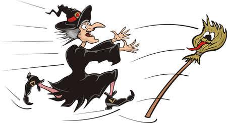 bruja: persiguiendo palo de escoba de bruja Vectores