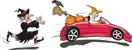 convertible car: Halloween - Truco o tratamiento