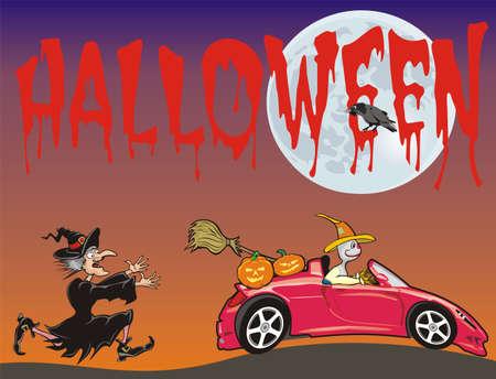 convertible car: halloween - espantap�jaros funcionamiento de una bruja Vectores