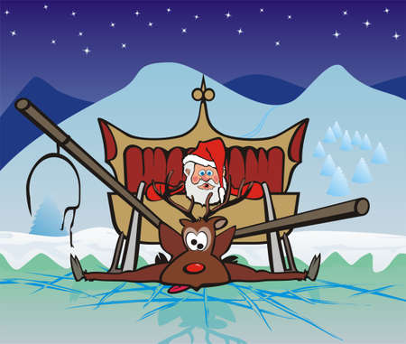 gift accident: accident on a frozen lake - christmas Illustration