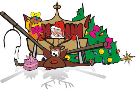 gift accident: christmas accident - santa and his reindeer Illustration