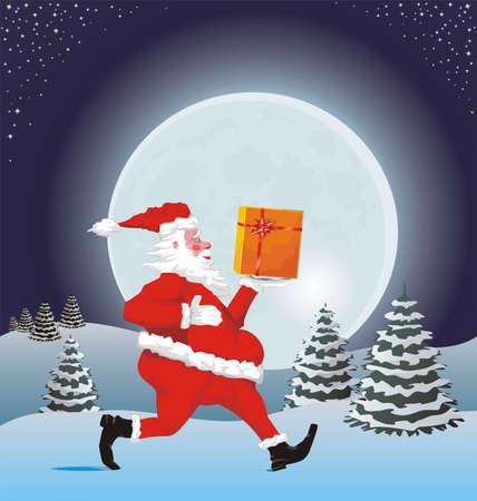 running santa and gift Stock Vector - 10674566