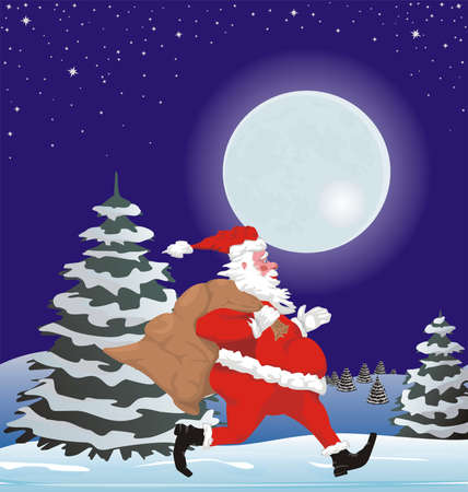 running santa and christmas scene Stock Vector - 10674565