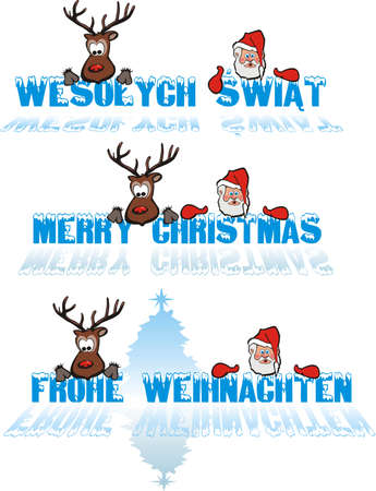 merry christmas - in polish, in english, in german Vector