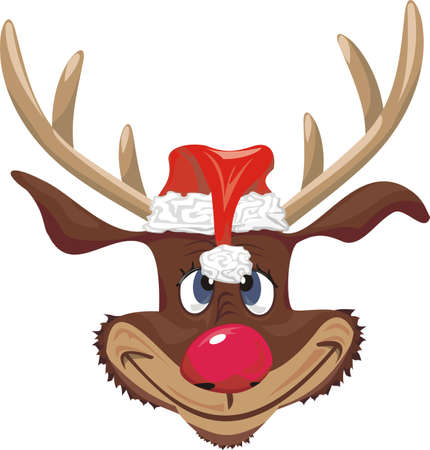 red nosed reindeer with santa claus hat Vector