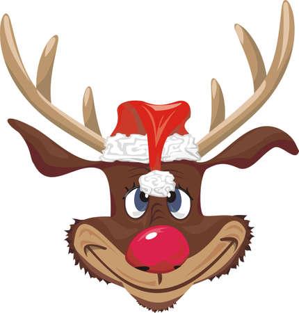 rode neus rendier met santa claus hoed