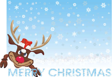 red nosed: merry christmas - red nosed reideer , background Illustration