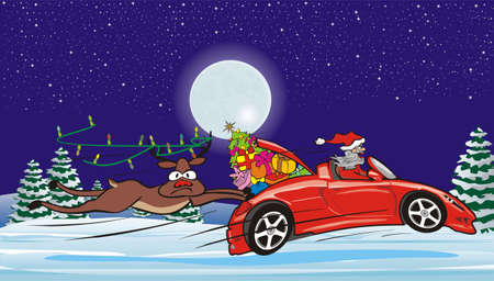 crazy santa in convertible and surprised reindeer Vector