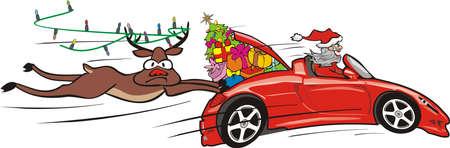 crazy santa in convertible and surprised reindeer