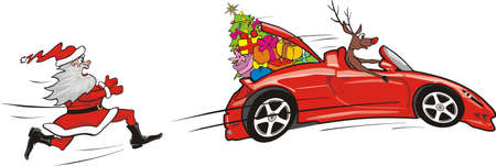 winter car: reindeer escapes convertible to santa claus Illustration