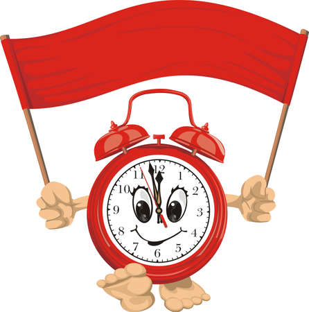 expire: red alarm clock with banner