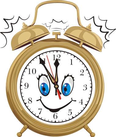 alarm clock - smiling clock face Vectores