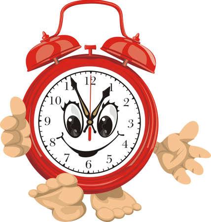 elapsed: smiling clock face - red alarm clock