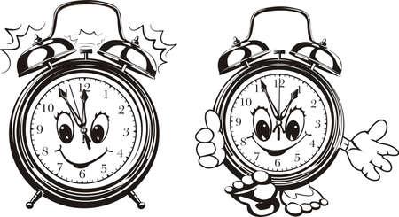 elapsed: two alarm clocks - black & white