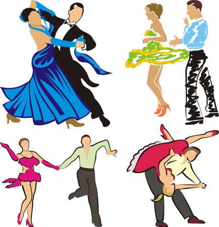 dancing - ballroom dancers silhouettes Vector