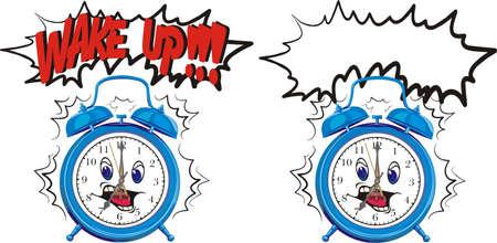 oversleep: wake up - blue alarm clock Illustration