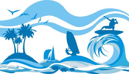 windsurf: en la onda - deportes náuticos y la recreación Vectores