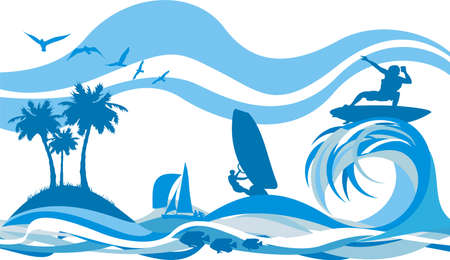 windsurfing: on the wave - water sports and recreation Illustration
