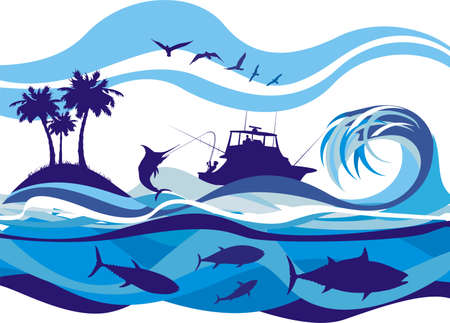 公海での釣り  イラスト・ベクター素材