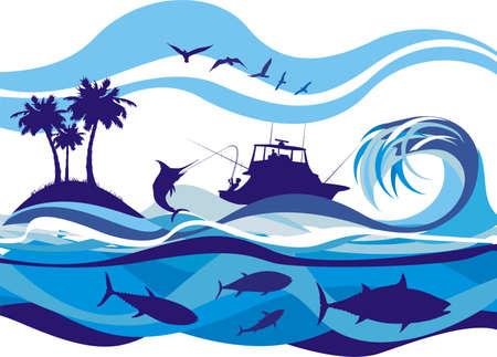 hengelsport: de visserij op de volle zee Stock Illustratie