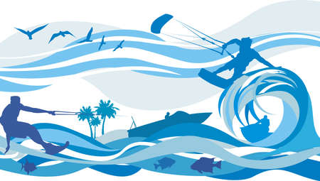 water sports - kite surfing, water skiing, jet Vector