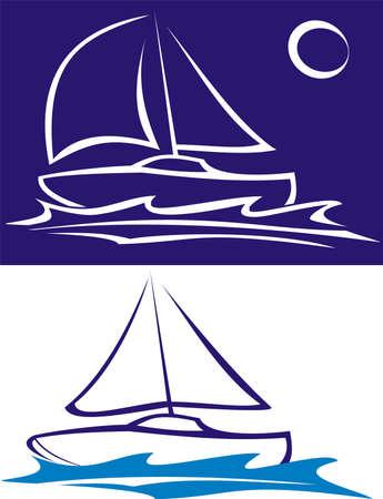 sailing boat - sailing on the sea Vectores