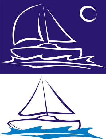 sailing boat - sailing on the sea Illustration