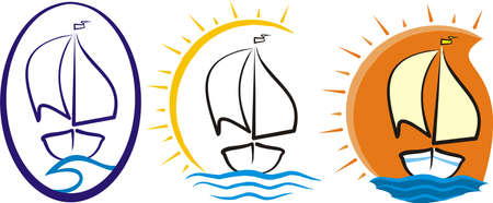 sailboat race: yacht at sea - silhouette