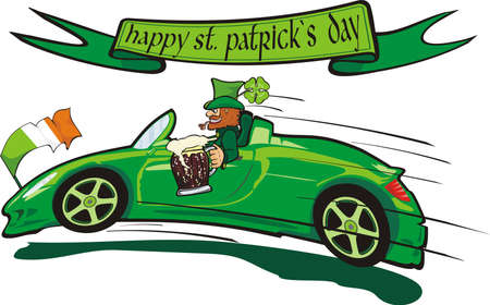 irish banners: leprechaun  and happy st. patrick`s day