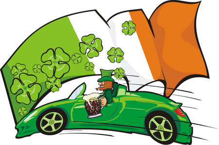 leprechaun driver on the background of the irish flag Vector