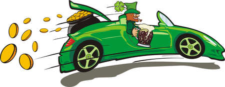 leprechaun, convertible and a treasure Vector