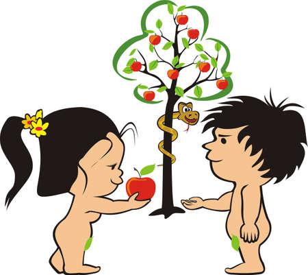 nude mann: Adam, Eva und Schlange im Garten Eden Illustration