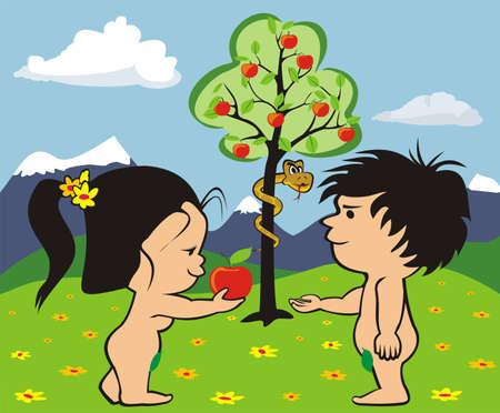 nudity: garden of eden - adam and eve Illustration