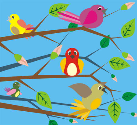 birds singing - spring Stock Vector - 11661848