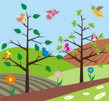 vogelspuren: Fr�hling - V�gel singen Illustration