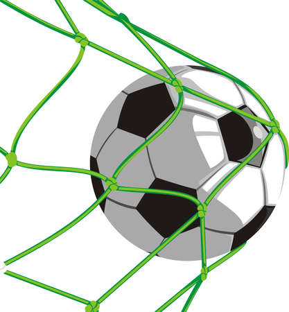 football kick: ball in the net - football Illustration