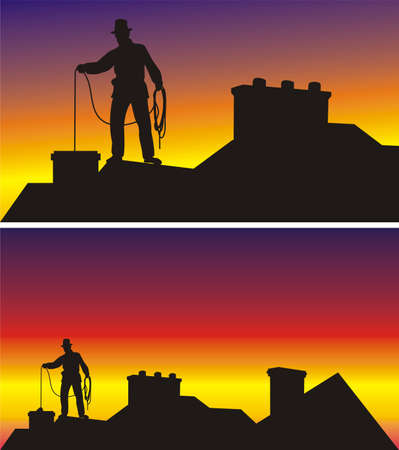 chimney sweep on the roof  Vector