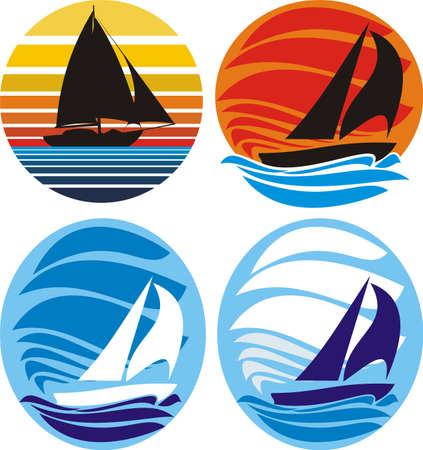 jachthaven: jacht en zeilen - zee en de zonsondergang