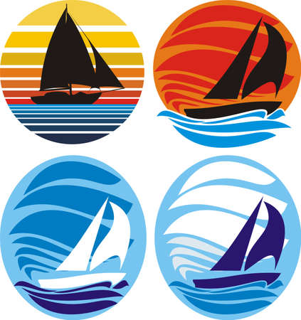yacht and sailing - sea and sunset Stock Vector - 11812890