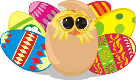 shyness: painting eggs - easter chick Illustration