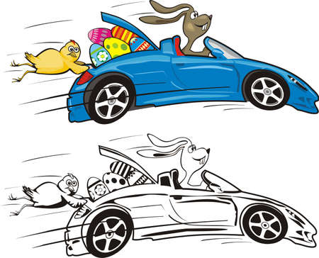 passover and easter chick: easter bunny and his crazy convertible Illustration